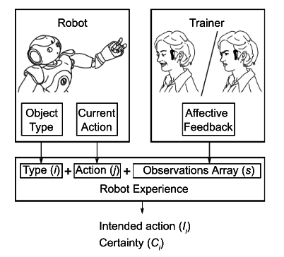 Coaching robot behavior using continuous physiological affective feedback