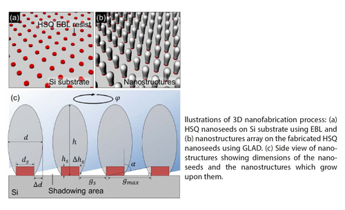 3D nanofabrication on complex seed shapes using glancing angle deposition