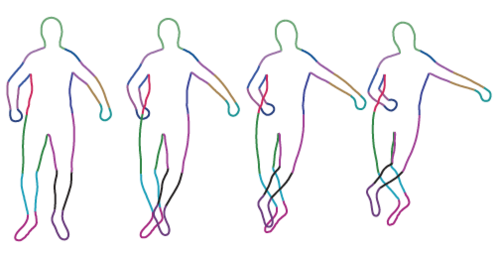 Contour people: A parameterized model of {2D} articulated human shape