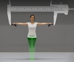 The Virtual Caliper: Rapid Creation of Metrically Accurate Avatars from {3D} Measurements