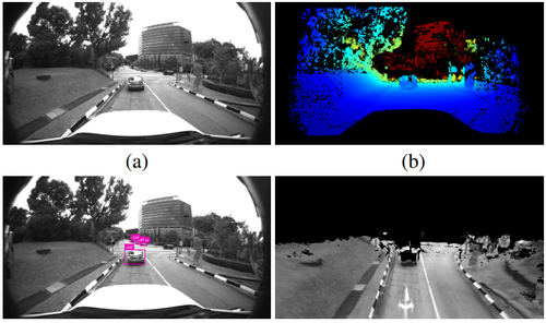 Real-Time Dense Mapping for Self-Driving Vehicles using Fisheye Cameras